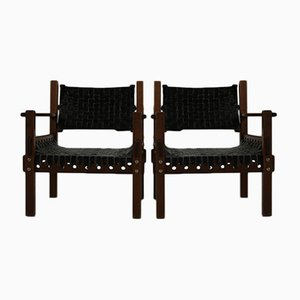 Brazilian Style Leather Armchairs, 1970s, Set of 2