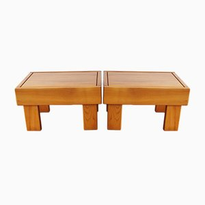 Vintage French Solid Elm Coffee Table from Maison Regain, 1980s