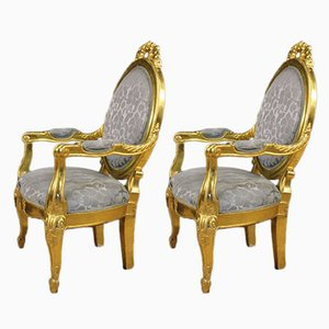 Vintage Italian Floral Armchairs, Set of 2