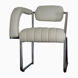 Non Conformist Chrome & White Leather Chair by Eileen Gray for Vereinigte Werkstätten, 1970s