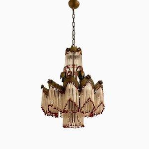 Lampadario Liberty vintage in vetro di Murano