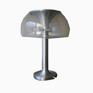 Lámpara de pie de vidrio y cromo de Temde, años 70