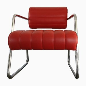 Red Leather Reu Bonaparte Chair by Eileen Gray for ClassiCon, 1990s
