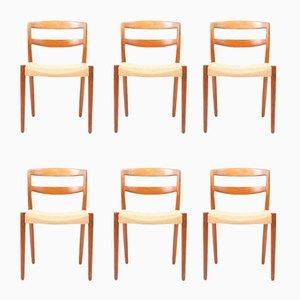Stühle mit Gestell aus Teak & Sitz aus Papierkordelgeflecht von E. Larsen & A. Bender für Willy Beck, 1960er, 6er Set