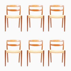 Teak & Paper Cord Chairs by E. Larsen & A. Bender for Willy Beck, 1960s, Set of 6
