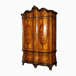 Antiker niederländischer Kleiderschrank aus Holz mit Intarsien
