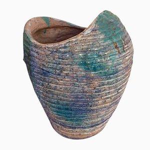 Brutalist Blue Ceramic Vase, 1960s