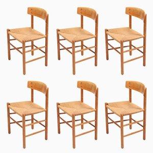 Mid-Century Stühle mit Gestell aus Eiche & Sitz aus Papierkordelgeflecht von Børge Mogensen für FDB, 6er Set