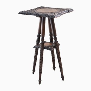 Antique Indian Carved Wooden Side Table from Walsh & Co., 1890s