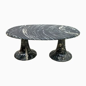 Tavolino da caffè in marmo nero, Italia, anni '80