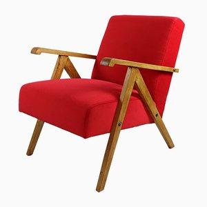 Vintage Red Velvet Armchair, 1970s