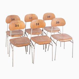 Vintage School Chairs, Set of 6