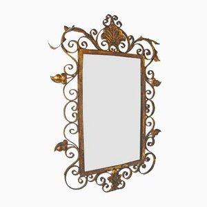 Specchio Mid-Century in ferro dorato