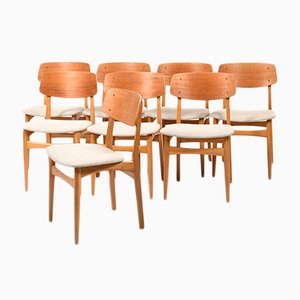 Danish Teak & Oak Dining Chairs, 1960s, Set of 8