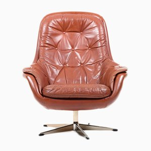 Danish Brown Leather Swivel Lounge Chair, 1960s