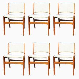 Esszimmerstühle aus Teak von Henning Kjaernulf, 1960er, 6er Set