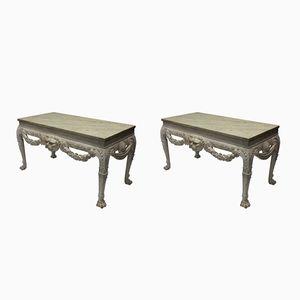 Grandes Tables Consoles Vintage en Acajou et Marbre, 1930s, Set de 2