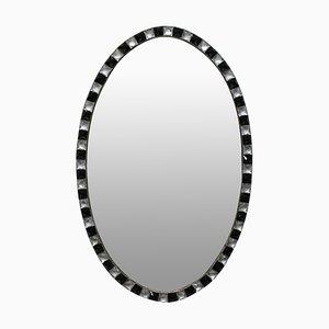 Espejo irlandés con borde tachonado de cristal transparente y negro, años 70