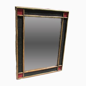 Espejo de bambú y ratán en rojo y negro, años 70