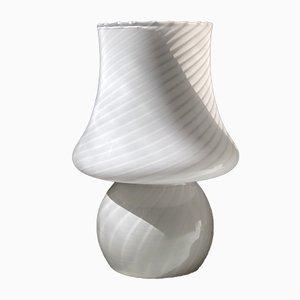 Lampe de Bureau Champignon en Verre de Murano Blanc, 1970s