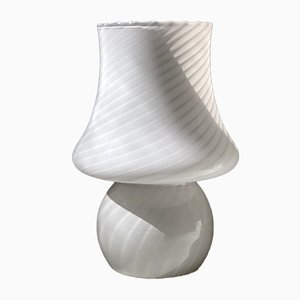 Weiße Pilzlampe aus Muranoglas, 1970er