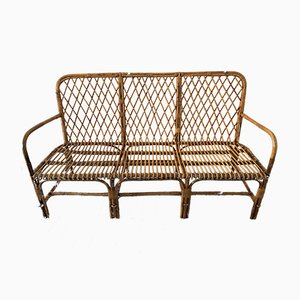 Vintage French Rattan Bench, 1970s