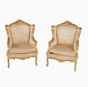 Antique Louis XV Style Golden Armchairs, Set of 2