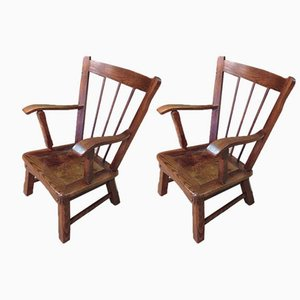 Vintage English Oak Armchairs, Set of 2