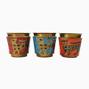 Glas Mosaik & Messing Trinkgläser von Salvador Teran, 1960er, 3er Set
