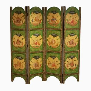 Four Panel Indian Hand-Painted Screen, 1930s