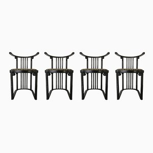 Art Nouveau Fledermaus Armchairs by Josef Hoffmann for Wittmann, 1980s, Set of 4