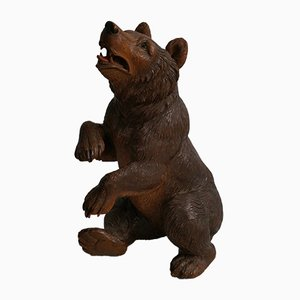 Swiss Wooden Black Forest Bear, 1930s