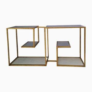 Beistelltisch mit Metallgestell & Glasplatten 1970er