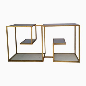 Metal and Glass Etagere Table, 1970s