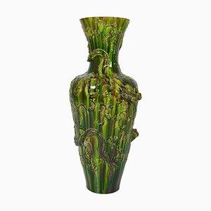 Vase Dragon Awaji en Majolique, Japon, 1920s