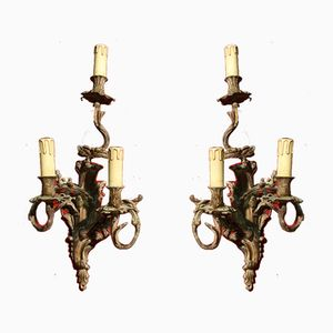 Antique French Gilded Bronze Sconces, Set of 2
