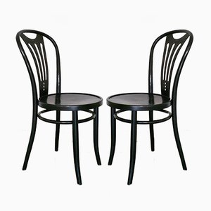 Art Nouveau Black Dining Chairs from ZPM Radomsko, 1960s, Set of 2