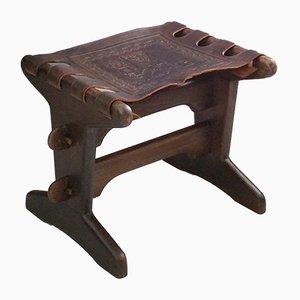 Fußhocker aus Leder & Holz von Angel I. Pazmino für Muebles de Estilo, 1960er