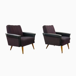 Vintage Purple & Black Armchairs, Set of 2