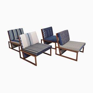 Französische niedrige Stühle aus Palisander, 1960er, 4er Set