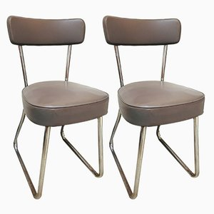 Mid-Century Leatherette & Tubular Steel Chairs, Set of 2