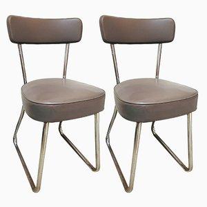 Mid-Century Stühle aus Kunstleder & Stahlrohr, 2er Set