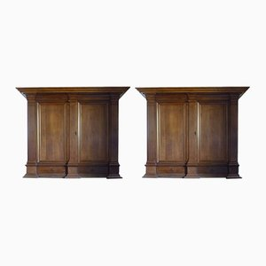 Belgian Oak Cupboards, 1850s, Set of 2