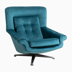 Mid-Century Velvet Swivel Lounge Chair