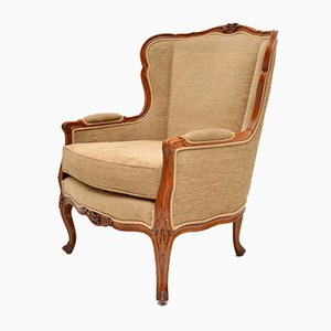 Vintage French Louis Style Carved Walnut Armchair