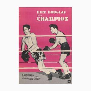 Poster vintage del film Champion di Wladyslaw Janiszewski, Polonia, 1961