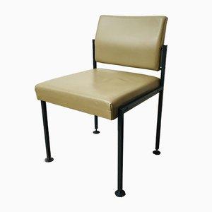 Mid-Century Beistellstuhl mit Sitz aus Leder