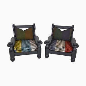 Brutalistische belgische Sessel mit Gestell aus ebonisierter Eiche, 1970er, 2er Set