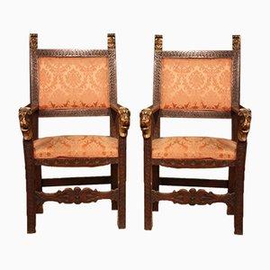 19th Century Italian Armchairs, Set of 2