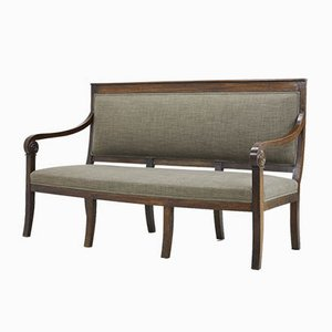 Antique French Walnut Sofa with Carved Armrests